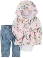 Carter's Baby Girl Floral Hooded Cardigan, Bodysuit & Jeans Set