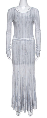 Chanel Grey Knit Lurex Detail Long Sleeve Maxi Dress M
