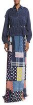 Diane von Furstenberg Bethune Patched Dots Silk Maxi Skirt