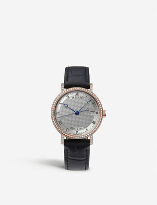 Breguet G9068BR12976DD00 Classique 18ct rose-gold, diamond and leather watch