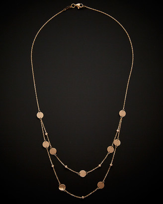 Italian Gold 14K Rose Gold Beads Disc Station Layered Necklace