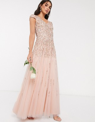 Beauut embellished maxi dress in soft apricot