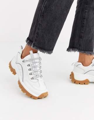 Stradivarius gum sole chunky sneakers in white