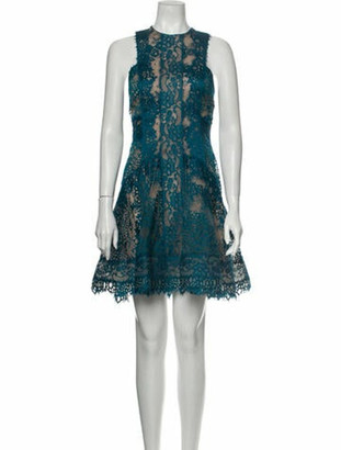 Elie Saab Lace Pattern Mini Dress Blue