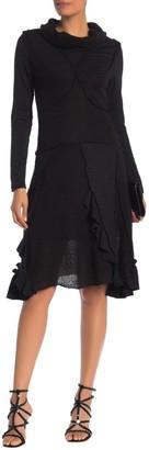 Patchwork Cowl Neck Twofer Knit Midi Dress