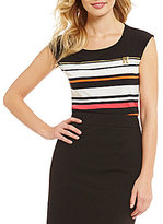 Calvin Klein Stripe Matte Jersey Cap Sleeve Scoop Neck Top
