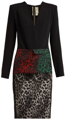 Roland Mouret Jalore Leopard-print Cady Dress - Black Multi