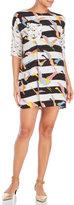 Alysi Mixed Print Patch Pocket Shift Dress