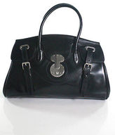 Ralph Lauren Black Patent Leather Ricky Satchel Handbag In Dust Bag