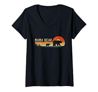 Womens Vintage Mama Bear Women Wildling Mother's Day Gift V-Neck T-Shirt