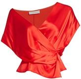 Mason by Michelle Mason Wide-Neck Silk Wrap Top