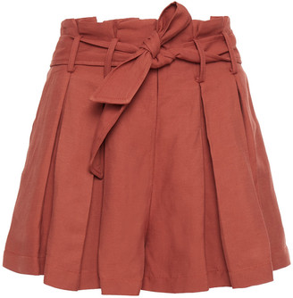 Sandro Eddi Belted Pleated Slub Twill Shorts
