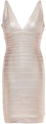 Herve Leger Metallic Coated Bandage Mini Dress