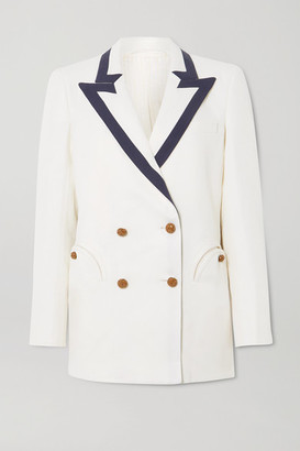 BLAZÉ MILANO Savannah Double-breasted Two-tone Linen And Silk-blend Blazer - Ivory