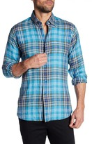 Robert Talbott Plaid Print Linen Trim Fit Sport Shirt