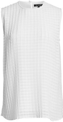 St. John Plisse Striped Georgette Shell Top