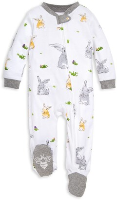 Burt's Bees Baby Bunny Trail Watercolor Organic Cotton Zip Front Loose Fit Footed Pajamas