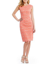 Vince Camuto Lace Cap Sleeve Sheath Dress