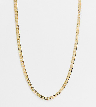 Orelia 16' flat link curb chain necklace in gold plate