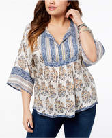 Lucky Brand Trendy Plus Size Mixed-Print Peasant Top