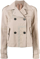 No.21 appliqué short trenchcoat - women - Cotton/Linen/Flax - 40