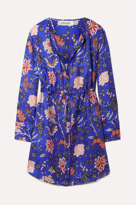 Diane von Furstenberg Floral-print Silk-twill Mini Dress - Bright blue