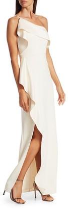 Halston One-Shoulder Satin Drape Gown