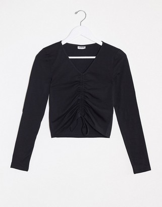 Noisy May ruched long sleeve crop top in black