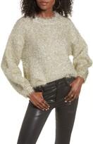 J.o.a. Fuzzy Metallic Blouson Sleeve Sweater