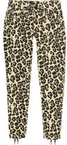 Sibling Leopard-Print Lace-Up Mid-Rise Slim-Leg Jeans