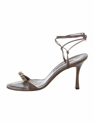Manolo Blahnik Leather Crystal Embellishments Sandals Gold