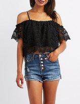 Charlotte Russe Crochet-Trim Lace Cold Shoulder Top