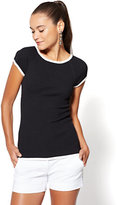 New York & Co. Contrast-Trim Short-Sleeve Sweater