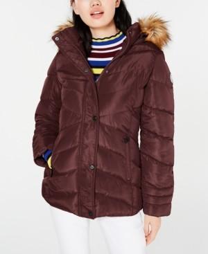 Madden-Girl Juniors' Faux-Fur Trim Hooded Puffer Coat