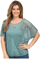 Miraclebody Jeans Fiona Fishnet Hi Lo Tee w/ Body-Shaping Inner Shell