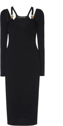 Versace Cutout Ribbed Stretch-Knit Midi Dress