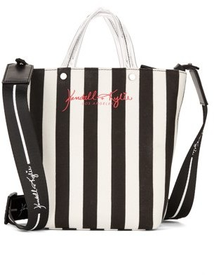 KENDALL + KYLIE For Walmart for Walmart Black and White Striped Mini Tote Crossbody