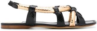 Francesco Russo Snakeskin Effect Flat Sandals