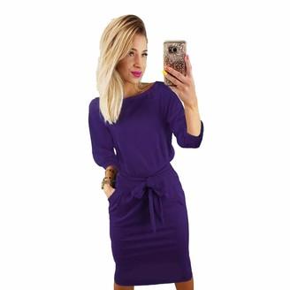 Longwu Women's Elegant Lantern Sleeve Wear to Work Casual Pencil Dress with Belt Purple-L