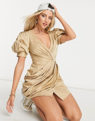 ASOS DESIGN structured drape wrap mini dress with puff sleeve detail in beige