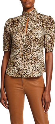 Frame Anabelle Leopard-Print High-Neck Top