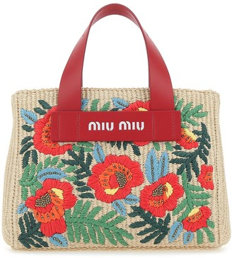 Miu Miu Floral Embroidered Tote Bag