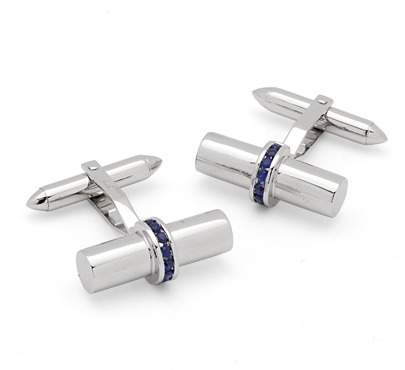 Aspinal of London Silky Barrel Cufflinks Gemset with Cluster Sapphires