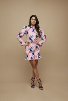Little Mistress Paper Dolls Kelsey Navy Peony Floral-Print Puff Sleeve Belted Mini Dress