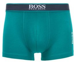 HUGO BOSS Stretch Cotton Trunks With Logo And Stripes - Turquoise