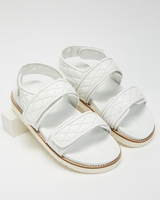 Atmos & Here Atmos&Here - Women's White Flat Sandals - Margot Leather Sandals - Size 6 at The Iconic