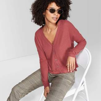 Women' Long leeve V-Neck Button-Front Thermal Top - Wild FableTM Berry