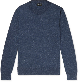 A.P.C. Hiroshi Melange Cotton, Wool And Silk-Blend Sweater