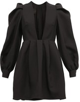 Valentino Plunge-neck Wool-blend Crepe Dress - Womens - Black