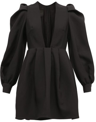 Valentino Plunge-neck Wool-blend Crepe Dress - Black